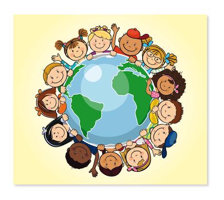 3 tlg. Schulfotomappe / Kindergartenmappe für 13x18 cm mit Fototasche - Kinder dieser Welt Produktbild