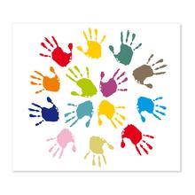 3 tlg. Schulfotomappe / Kindergartenmappe für 13x18 cm mit Fototasche - Hände Produktbild