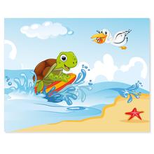 3 tlg. Schulfotomappe / Kindergartenmappe für 13x18 cm mit 2 Einsteckschlitzen - Schildkröte Produktbild