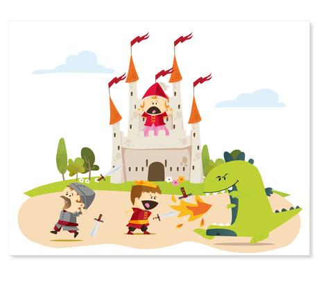 3 tlg. Schulfotomappe / Kindergartenmappe für 13x18 cm mit 2 Einsteckschlitzen - Ritterburg Produktbild