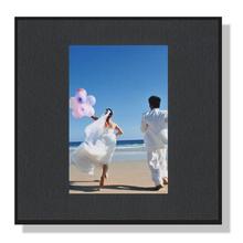 Fotomaske für 6x9 cm - schwarz mit Leinenstruktur - ohne Rückwand Produktbild