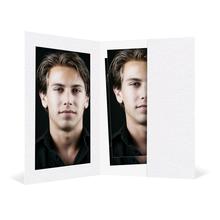 Bewerbungsbildmappe mit Ausschnitt 65x95 mm & Tasche - weiß - Filzprägung Produktbild