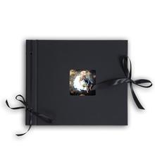 Designalbum mit festem Rücken und Satinband für 24x24 cm  - Leinen schwarz Produktbild