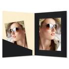 Fotomappe Bi-Color für 13x18 cm - creme schwarz gerippt Produktbild