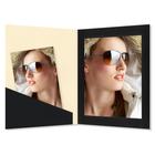 Fotomappe Bi-Color für 15x20 cm - creme schwarz gerippt Produktbild