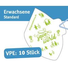 """Mund/Nase Abdeckungen, """"Behelfsschutzmasken"""" Standard Druck: """"Let´s save the world"""" Verpackungseinheit 10 Stück Produktbild"""