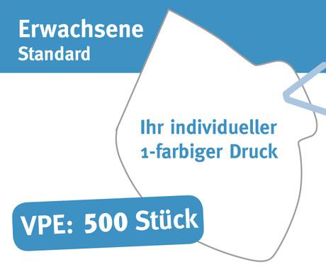 """Mund/Nase Abdeckungen, """"Behelfsschutzmasken"""" Standard 1-farbiger Druck Verpackungseinheit 500 Stück Produktbild"""