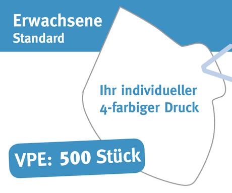 """Mund/Nase Abdeckungen, """"Behelfsschutzmasken"""" Standard 4-farbiger Druck Verpackungseinheit 500 Stück Produktbild"""