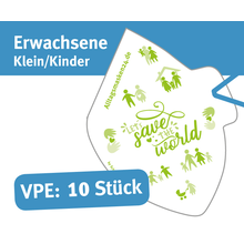 """Mund/Nase Abdeckungen, """"Behelfsschutzmasken"""" klein/Kinder Druck: """"Let´s save the world"""" Verpackungseinheit 10 Stück Produktbild"""