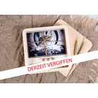 Quadratische Fotobox aus Holz für 13x19 cm Fotos & sämtliche USB-Stick Größen & inkl. 3 Fläschchen Produktbild
