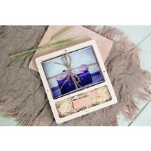 Quadratische Fotobox aus Holz für 13x18 cm Fotos & sämtliche USB-Stick Größen Produktbild