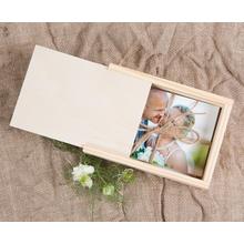 Rechteckige Fotobox aus Holz für 10x15 cm Fotos Produktbild