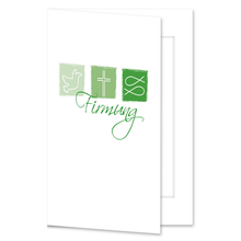 Einladungs- Danksagungskarte mit Passepartout - Firmung grüne Symbole für 10x15 cm  Produktbild