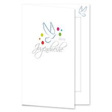 Einladungs- Danksagungskarte mit Passepartout - Jugendweihe Taube für 10x15 cm  Produktbild