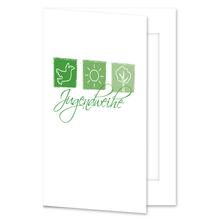 Einladungs- Danksagungskarte mit Passepartout - Jugendweihe grüne Symbole für 10x15 cm  Produktbild