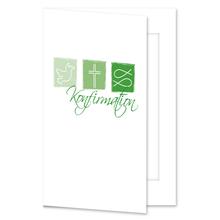 Einladungs- Danksagungskarte mit Passepartout - Konfirmation grüne Symbole für 10x15 cm  Produktbild