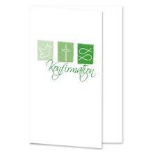 Einladungs- Danksagungskarte ohne Passepartout - Konfirmation grüne Symbole für 10x15 cm  Produktbild