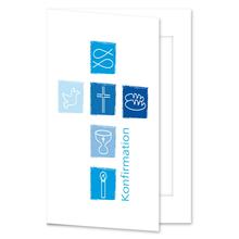 Einladungs- Danksagungskarte mit Passepartout - Konfirmation blaue Symbole (Kreuz) für 10x15 cm  Produktbild