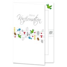 Einladungs- Danksagungskarte mit Passepartout - Konfirmation bunt (Schnüre) für 10x15 cm  Produktbild