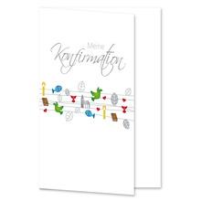 Einladungs- Danksagungskarte ohne Passepartout - Konfirmation bunt (Schnüre) für 10x15 cm  Produktbild