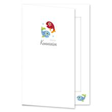 Einladungs- Danksagungskarte mit Passepartout - Kommunion Fische für 10x15 cm  Produktbild