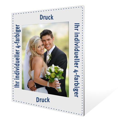 Individuell bedruckbarer Aufsteller mit weißer starker Rückwand für 10x15 cm - 100 Stück Produktbild