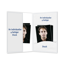 Individuell bedruckbare Passbildmappe mit Einsteckschlitz für 4,5x6 cm & Tasche - 4-farbig bedruckbar - 100 Stück Produktbild